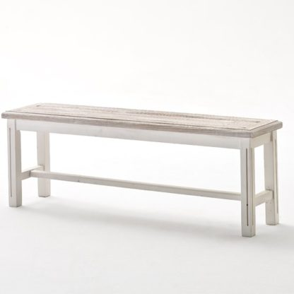 An Image of Opal Dining Bench In White Pine 2 Seater