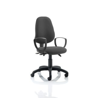An Image of Redmon Fabric Office Chair In Charcoal With Loop Arms