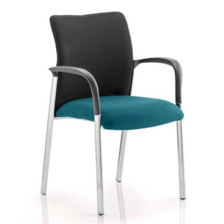 An Image of Academy Black Back Visitor Chair In Maringa Teal With Arms