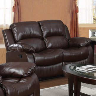 An Image of Piscium Leather Full Bonded Recliner 2 Seater Sofa In Brown