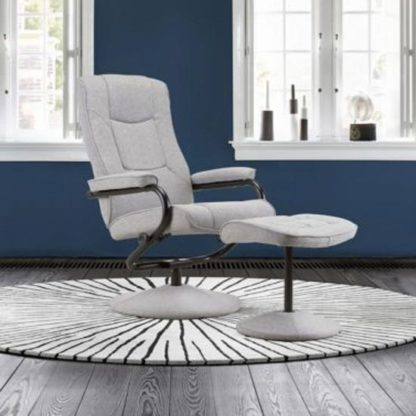 An Image of Memphis Swivel Recliner Chair And Footstool In Grey