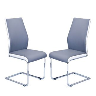 An Image of Marine Dining Chair In Grey And White Faux Leather In A Pair