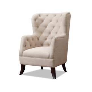 An Image of Oxford Sofa Chair In Beige Fabric With Dark Wooden Feet