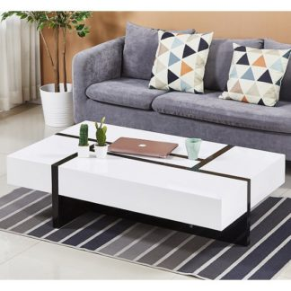 An Image of Storm Storage Coffee Table In White And Black High Gloss