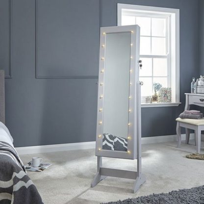 An Image of Amore LED Dressing Mirror In Grey With Jewellery Cabinet
