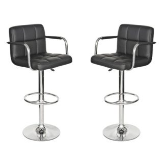 An Image of Coco Black Leather Bar Stool In Pair