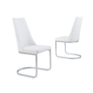 An Image of Roxy Modern Dining Chair In White Faux Leather in A Pair