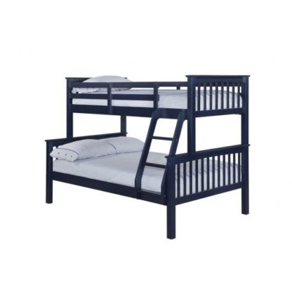 An Image of Trios Solid Navy Blue Finish Triple Sleeper Bunk Bed