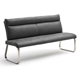 An Image of Rabea Fabric Large Dining Bench In Grey With Steel Frame