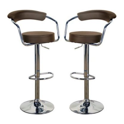 An Image of Saturn Brown Leather Bar Stool In Pair
