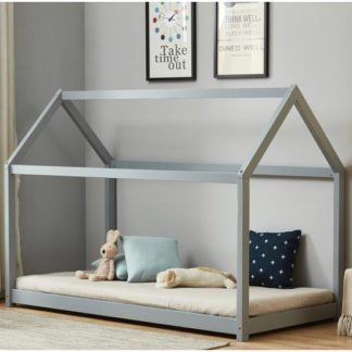 An Image of House Wooden Single Bed In Grey