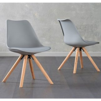 An Image of Tupa Light Grey Faux Leather Chairs In Pair With Round Leg