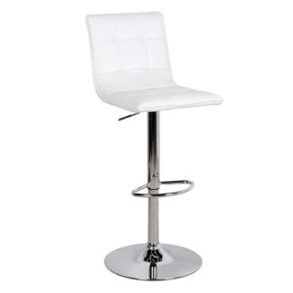 An Image of Vigo Faux Leather Bar Stool In White
