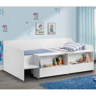 An Image of Carolyn Low Sleeper Children Bed In White With 2 Drawers