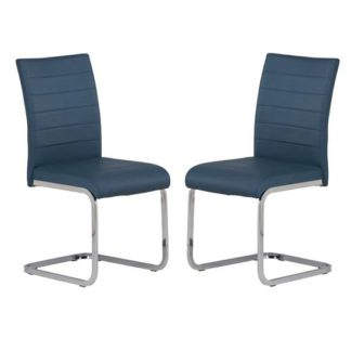 An Image of Pindall Dining Chair In Blue With Chrome Frame In A Pair