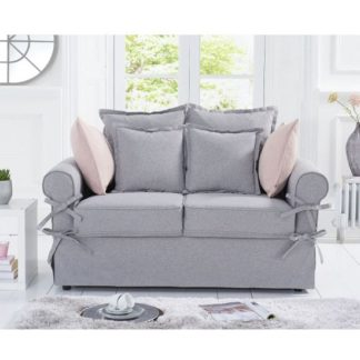 An Image of Riggs Linen Two Seater Sofa In Grey With Padded Seat And Back