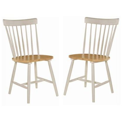 An Image of Rotanev Stone Grey And Oak Dining Chairs In Pair