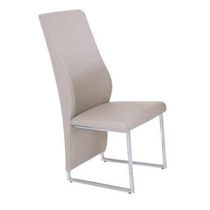 An Image of Crystal PU Dining Chair In Champagne With Chrome Legs