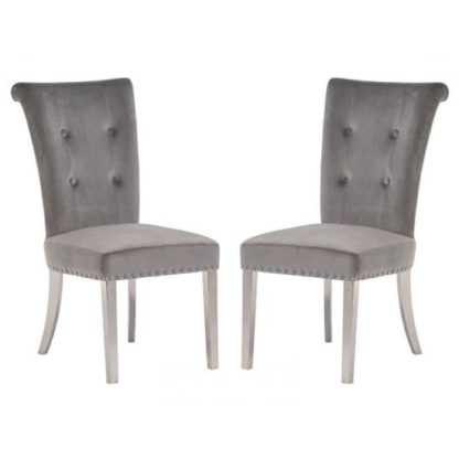 An Image of Mitzi Grey Velvet Upholstered Dining Chair In A Pair
