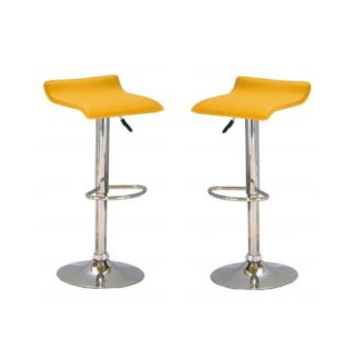 An Image of Stratos Bar Stool In Yellow PVC and Chrome Base In A Pair