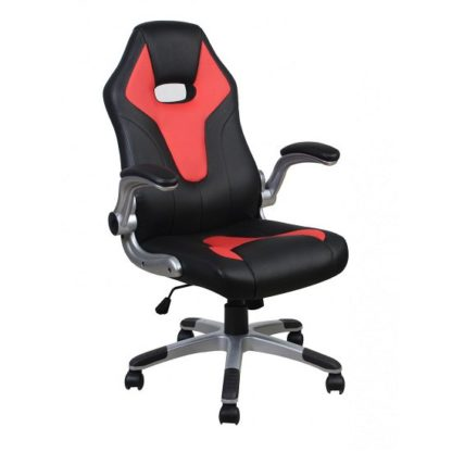 An Image of Ferry Stylish Faux Leather Office Chair In Red And Black