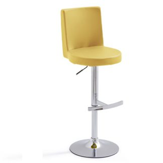 An Image of Twist Bar Stool Curry Faux Leather With Round Chrome Base