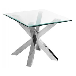 An Image of Crossley Square Clear Glass Lamp Table