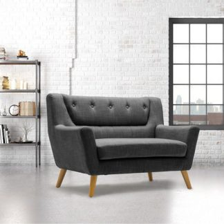 An Image of Stanwell 2 Seater Sofa In Grey Fabric With Wooden Legs