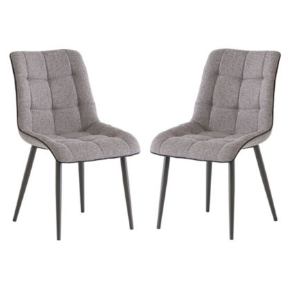An Image of Picasso Grey Fabric Dining Chair In A Pair