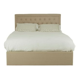 An Image of Edasich Wooden Ottoman Double Bed In Beige
