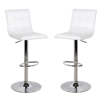 An Image of Vigo White Faux Leather Bar Stool In Pair