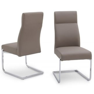 An Image of Swiss Cantilever Dining Chair In Taupe Faux Leather In A Pair