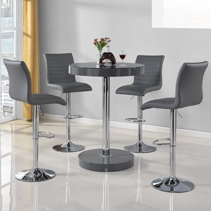 An Image of Havana Round Bar Table In Grey With 4 Ripple Bar Stools