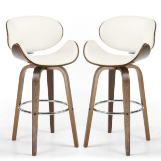 An Image of Clapton Bar Stools In Cream PU And Walnut In A Pair