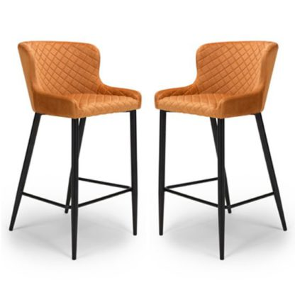 An Image of Malmo Orange Velvet Fabric Bar Stool In Pair With Metal Base