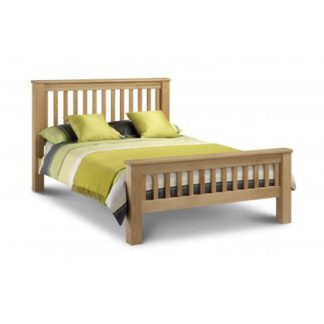 An Image of Amsterdam 150Cm Wooden Bed In Oak Finish