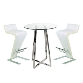 An Image of Poseur Bar Table In Clear Glass With 2 Farello White Bar Stools