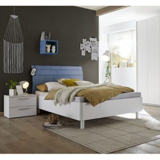 An Image of Altair Fabric Single Bed In Matt White And Blue
