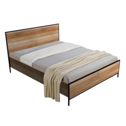 An Image of Michigan Wooden Double Bed In Oak Effect