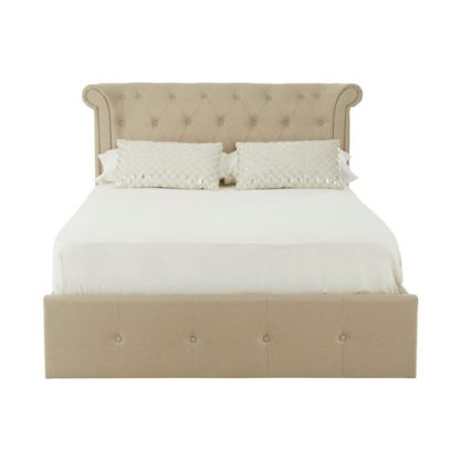 An Image of Cujam Wooden Double Ottoman Bed In Beige