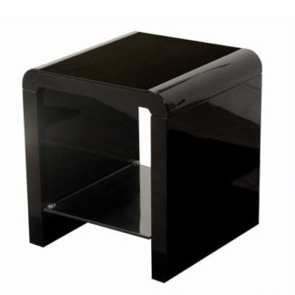 An Image of Norset Modern End Table Square In Black Gloss