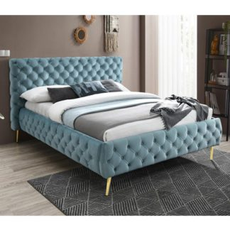 An Image of Tiffany Velvet Upholstered Double Bed In Crystal