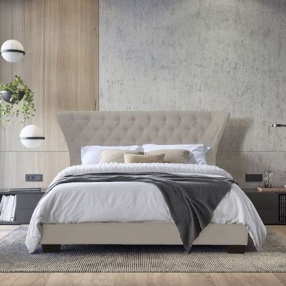 An Image of Georgia Fabric Super King Size Bed In Champagne