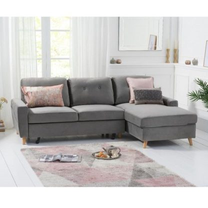 An Image of Correen Velvet Right Hand Facing Chaise Sofa Bed In Grey