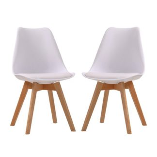 An Image of Louvre White Finish Dining Chairs In Pair