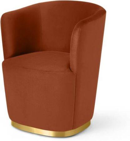 An Image of Revy Dining Chair, Nutmeg Orange Velvet