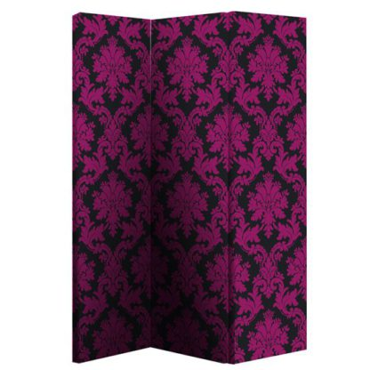 An Image of Damask Black And Pink Room Divider With Flock Effect