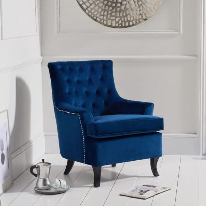 An Image of Bartow Modern Accent Chair In Blue Velvet With Black Legs