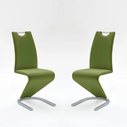 An Image of Amado Dining Chair In Olive Faux Leather In A Pair