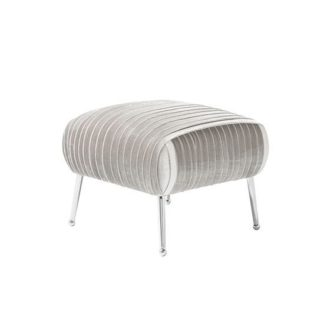 An Image of Marlox Modern Stool Grey Velvet With Chrome Legs